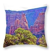 Colorado National Monument Colorado Blue Sky Red Rocks Clouds Trees 2 10212018 2871.jpg Throw Pillow