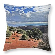 Colorado National Monument Trees Rock Formations Clouds 3001 Throw Pillow