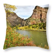 Colorado River At Hanging Lake Rest Stop Throw Pillow by Ray Mathis