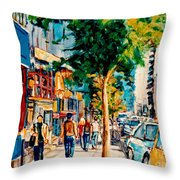 Colorful Cafe Painting Irish Pubs Bistros Bars Diners Delis Downtown C Spandau Montreal Eats         Throw Pillow