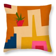 Colorful Geometric House 2- Art By Linda Woods Throw Pillow