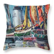 Colorful Harbor Throw Pillow