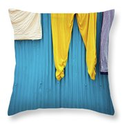 Colorful Laundry Throw Pillow by Nicole Young
