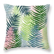 Colorful Palm Leaves 2- Art By Linda Woods Throw Pillow