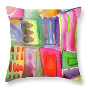 Colorful Patchwork 2- Art By Linda Woods Throw Pillow