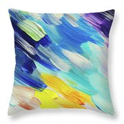 Colorful Rain Fragment 5. Abstract Painting Throw Pillow