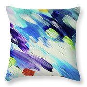 Colorful Rain Fragment 6. Abstract Painting Throw Pillow