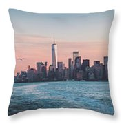 Colorful Sunrise Over The New York Skyline And The Statue Of Lib Throw Pillow