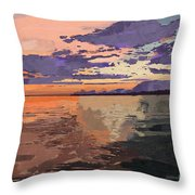 Colorful Sunset Over The Gulf Of Mexico Throw Pillow