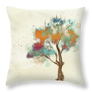 Colorful Tree Throw Pillow by Lois Bryan