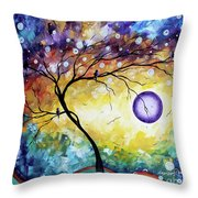 Colorful Whimsical Original Landscape Tree Painting Purple Reign By Megan Duncanson Throw Pillow