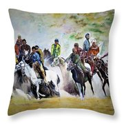 Colors In Buzkash Sport Throw Pillow