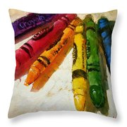 Colorwheel Crayons Throw Pillow