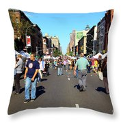 Columbus Day On Amsterdam Ave. Upper West Side, New York 2008 Throw Pillow