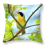 Common Yellowthroat Singing His Little Heart Out Throw Pillow