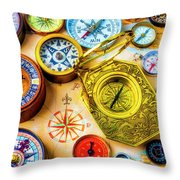 Compass And Compass Rose Throw Pillow
