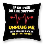 Computer Unplug Geek Pun Apparel Throw Pillow