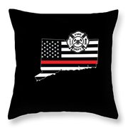 Connecticut Firefighter Shield Thin Red Line Flag Throw Pillow