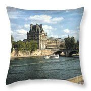 Contemplating The Louvre Throw Pillow