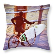 Contemplating The Surf Throw Pillow