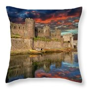Conwy Castle Sunset Throw Pillow by Adrian Evans