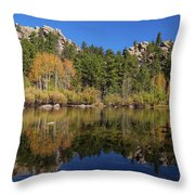 Cool Calm Rocky Mountains Autumn Reflections Throw Pillow