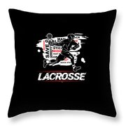 Cool Lacrosse Player Outdoors Sports Team Typography Throw Pillow