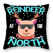 Coolest Reindeer At The North Pole Throw Pillow