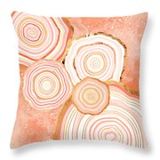 Coral Agate Abstract Throw Pillow