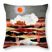 Coral Desert Lake Throw Pillow