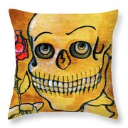 Corazon Sugarskull Holding Rose Throw Pillow