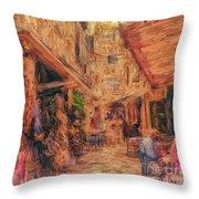 Corfu Town Street Scene Throw Pillow