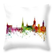 Cork, Stockholm And Gothenburg Skyline Mashup Throw Pillow