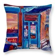 Corner Cafe Clark And Fairmount Wilensky's Winter Scene Habs Hockey Art C Spandau Quebec Artist Throw Pillow