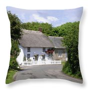 Cornish Thatched Cottage Throw Pillow