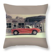 Corvette Cafe - C1 - Vintage Film Throw Pillow