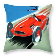 Cote D Azur, French Rivera Vintage Racing Poster Throw Pillow