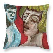 Couple In Front Of Red Wall Throw Pillow