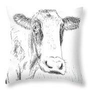 Cow Doodle Throw Pillow by Monique Faella