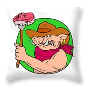 Cowboy Hog Holding Barbecue Steak Drawing Color Throw Pillow
