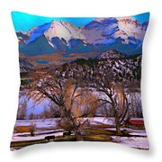 Cows And Hay On The Ground Throw Pillow