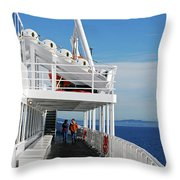 Cozy Walk -  Painterly Ferry To Victoria Throw Pillow