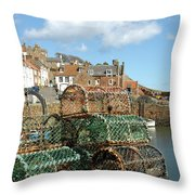 Crail Harbour And Lobster Pots Throw Pillow