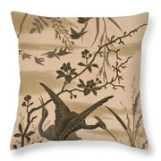 Cranes And Birds At Pond 1880 Throw Pillow