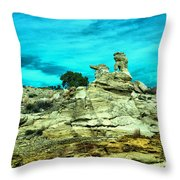 Crazy Rock Formations In New Mexico Throw Pillow