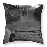 Crescent Falls Light Rays Through The Mist Black And White Throw Pillow