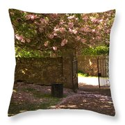 Crichton Church Entrance Gate And Tree In Pink Bloom Throw Pillow