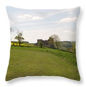 Crighton Castle Ruins And Hills, Midlothian Throw Pillow