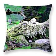 Crocodile Profile. Throw Pillow