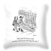 Crocuses And Another Democrat Throw Pillow